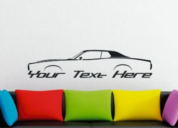 Large Custom car silhouette wall sticker -for 1973-1974 Dodge Charger Rallye | classic muscle car